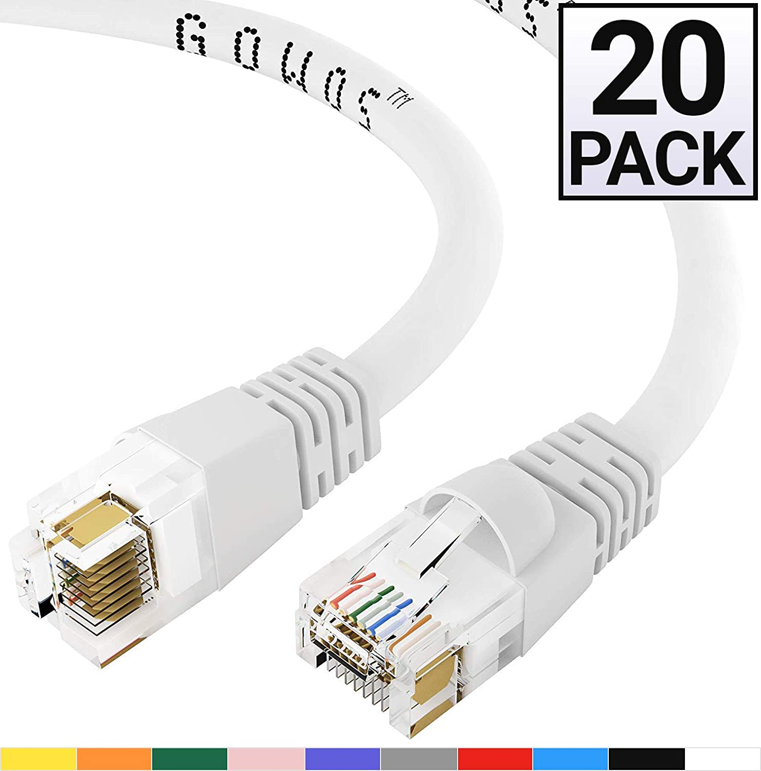 GOWOS 20-Pack, Cat6 Ethernet Cable (6 Feet - White) UTP - Computer Network Cable with Snagless Connector - RJ45 10Gbps High Speed LAN Internet Patch Cord - Available in 28 Lengths and 10 Colors