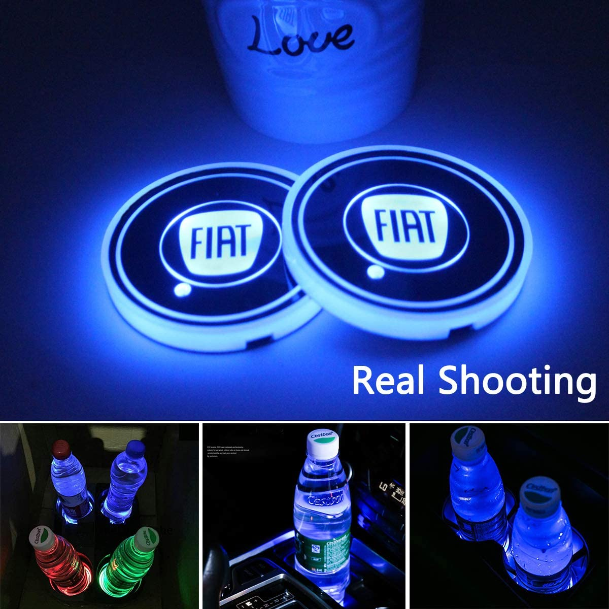 CAR FANS 2pcs fit Fiat LED Cup Holder Lights,7 Colors Changing USB Charging Mat Luminescent Cup Pad, LED Interior Atmosphere Lamp