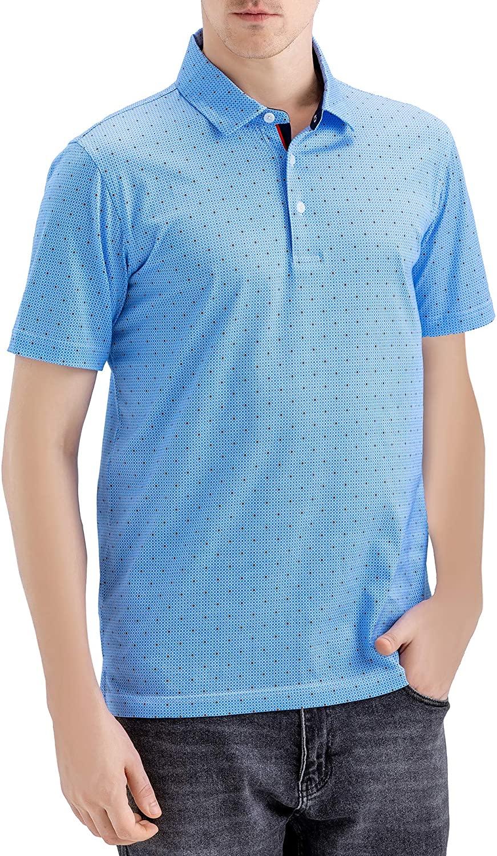 MAELREG Mens Classic Fit Digital Print Mercerized Cotton Short Sleeve Polo Shirt