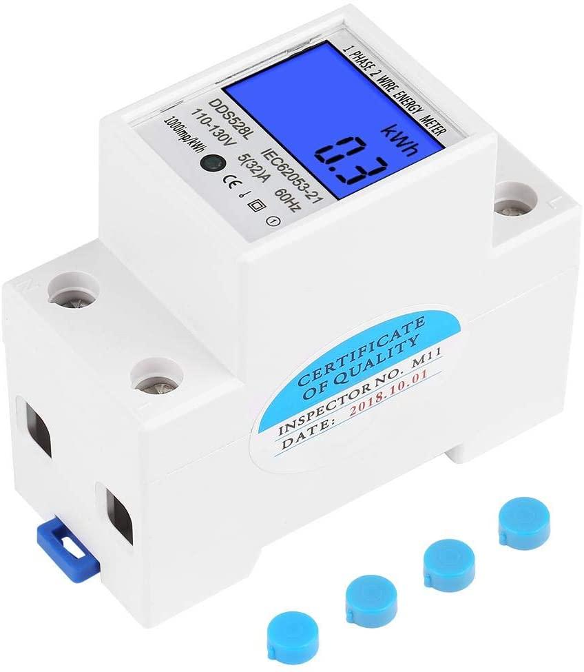 Single Phase Energy Meter Electric Meter, 110-130V LCD KWH Electric Meter 5-32A 60Hz Single Phase DIN-rail KWH Meter, Backlight Energy Meter