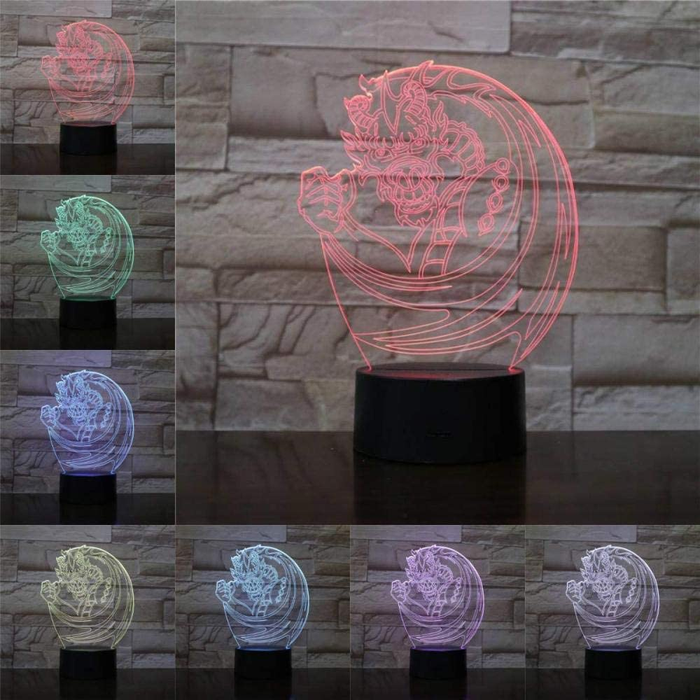 xcdfr 3D Night Light Optical Illusion LED Desk Table Lamp for Kids USB Chinese Dragon Lamp Illusion LED Bulb USB RGB Multicolor Christmas Kid Toy Gifts for Children Home Deocr