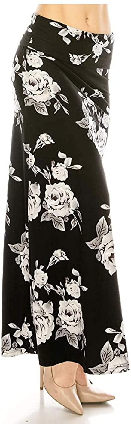 Women's Casual Stretch Maxi Skirt - Basic Foldable High Waist Ultra Soft Lounge Long Floor Length Skirts