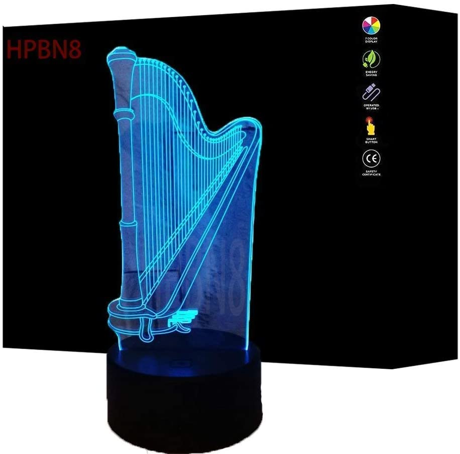 3D Harp Night Light Illusion Lamp 7 Colors Change LED Touch Switch USB Power Kids Toys Decor Decorations Table Lamp Children Christmas Valentines Birthday Gift