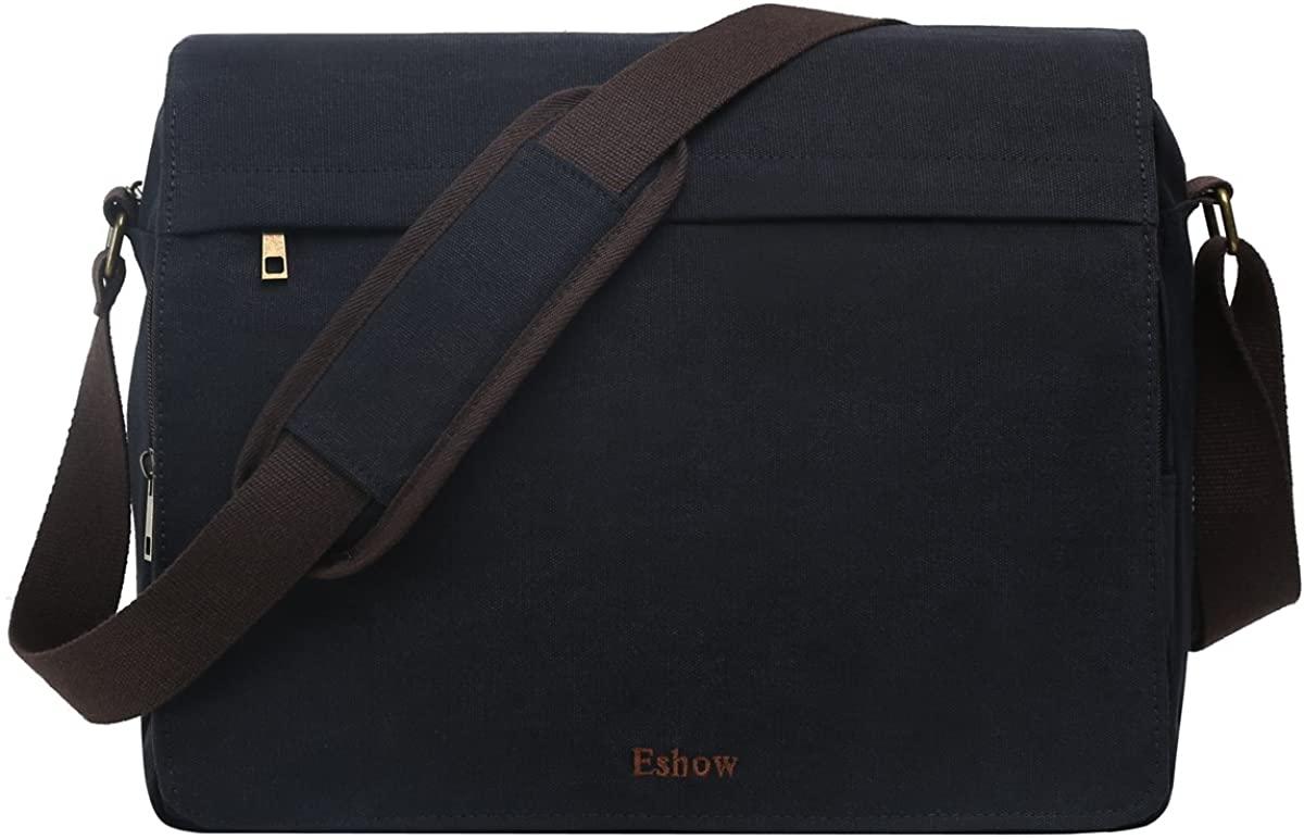 Eshow Men's Messenger Bag Canvas Crossbody Shoulder Bag Retro Business Bag 13