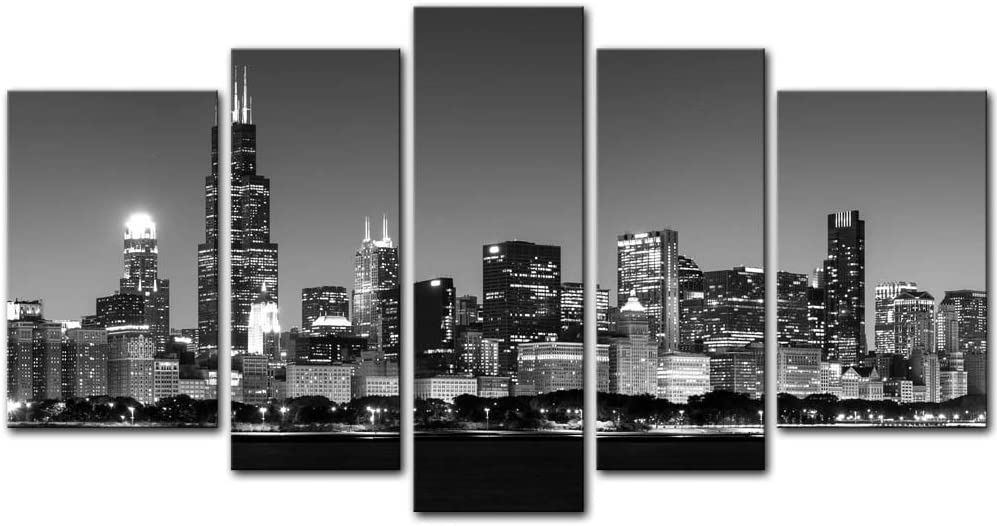 Chicago City Wall Art Decor Poster Painting On Canvas Print Pictures 5 Pieces View of Chicago Skyline at Night in Black and White Place Cityscape Framed Picture for Home Decoration Living Room Artwork