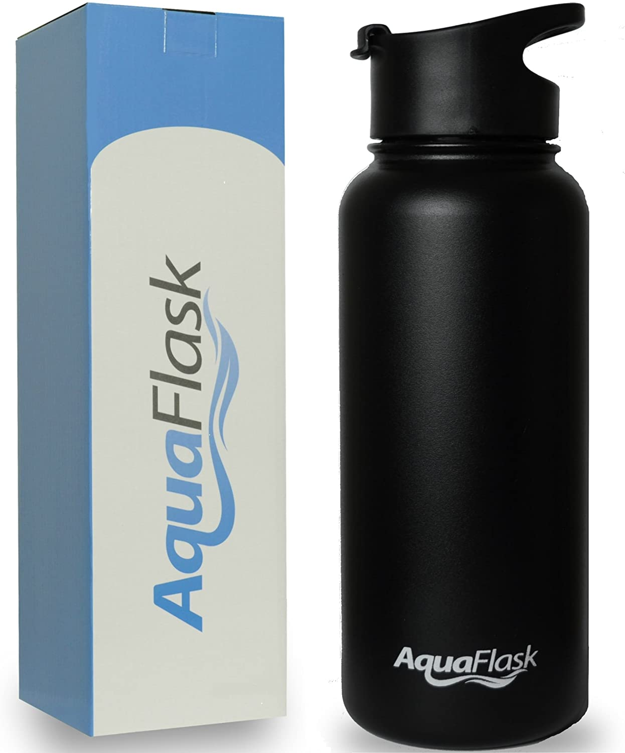 AquaFlask 32oz Vacuum Insulated Stainless Steel Water Bottle, Wide Mouth with Flip Top (32-Ounce)