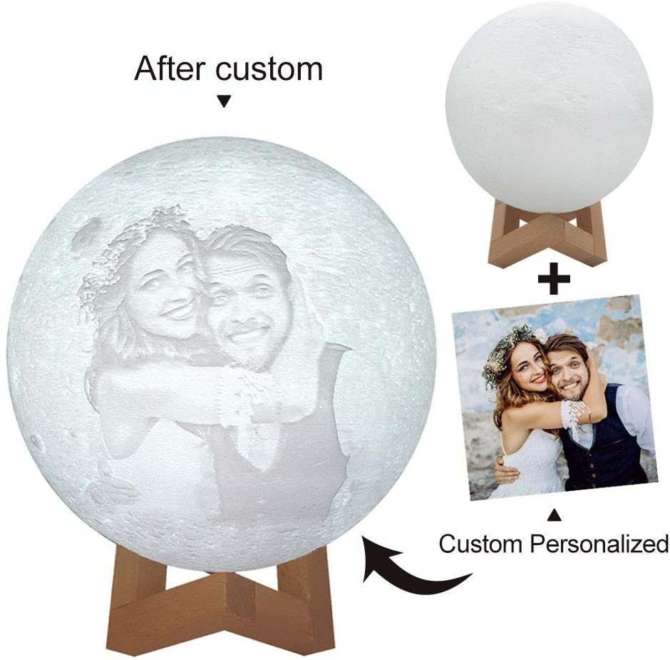 LED Moon Lamp Personalized Custom, USB Charging Night Light,16 LED Colors, Remote &Touch Control, Mother's Day, Father's Day Gift, Birthday Gift Idea for Women, Girls, Boys, (4 Inch/10cm)
