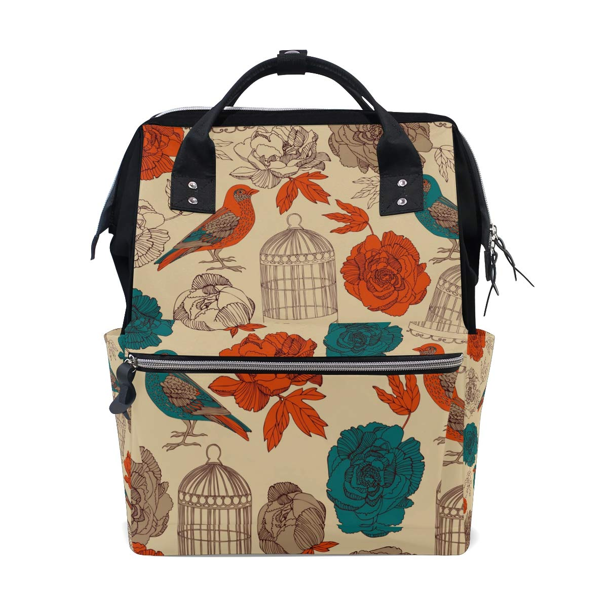 TropicalLife Retro Flower Bird Diaper Backpack Large Capacity Baby Bags Multi-Function Zipper Casual Travel Backpacks for Mom Dad Unisex