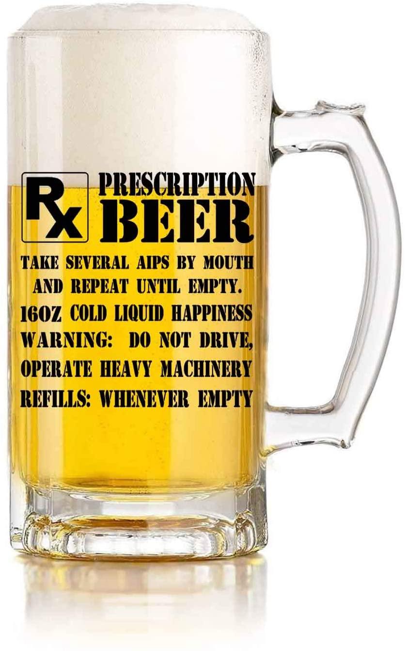 Prescription PX Beer 16 oz Pint Beer Glass, Funny present Idea, Beer Mug present for Him, present for Her, present for Brother,present for parents