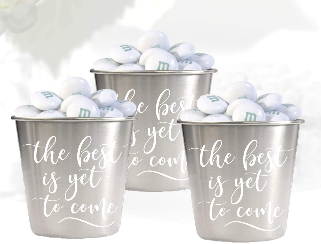 12 Piece Complete Wedding Favors Set | Environmentally-Friendly Stainless Steel 1.5oz Shot Glasses | Groomsmen + Bridesmaid for Bachelor Bachelorette Parties (12 Shotglasses + Cards)