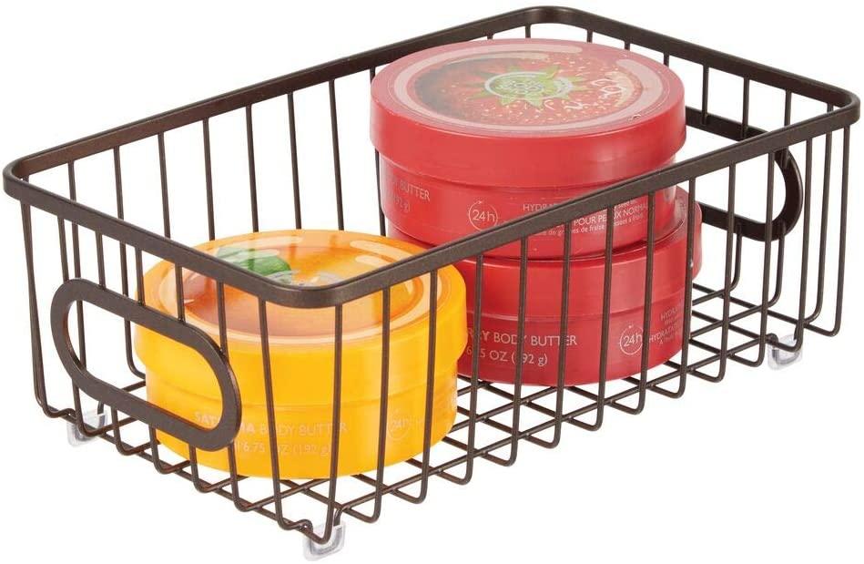 mDesign Metal Bathroom Storage Organizer Basket Bin - Modern Wire Grid Design - for Organization in Cabinets, Shelves, Closets, Vanity Countertops, Bedrooms, Under Sinks - Small Wide - Bronze