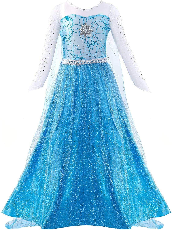 PROALLO Little Girl Princess Dress Snow Party Queen Halloween Costume
