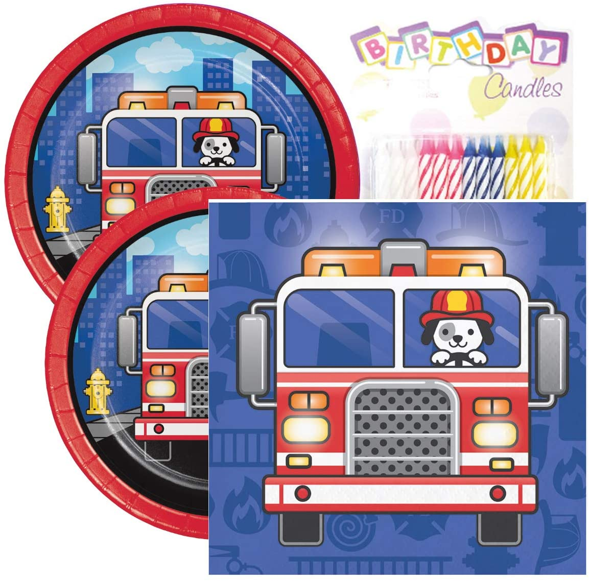 Flaming Fire Truck Birthday Party Pack � Includes 7� Paper Plates & Beverage Napkins Plus 24 Birthday Candles � Serves 16