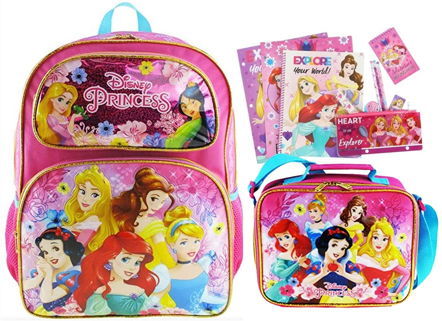 Disney Princess Deluxe 16 Inch Backpack and Lunch Box Set PLUS 11 Piece Stationery Set