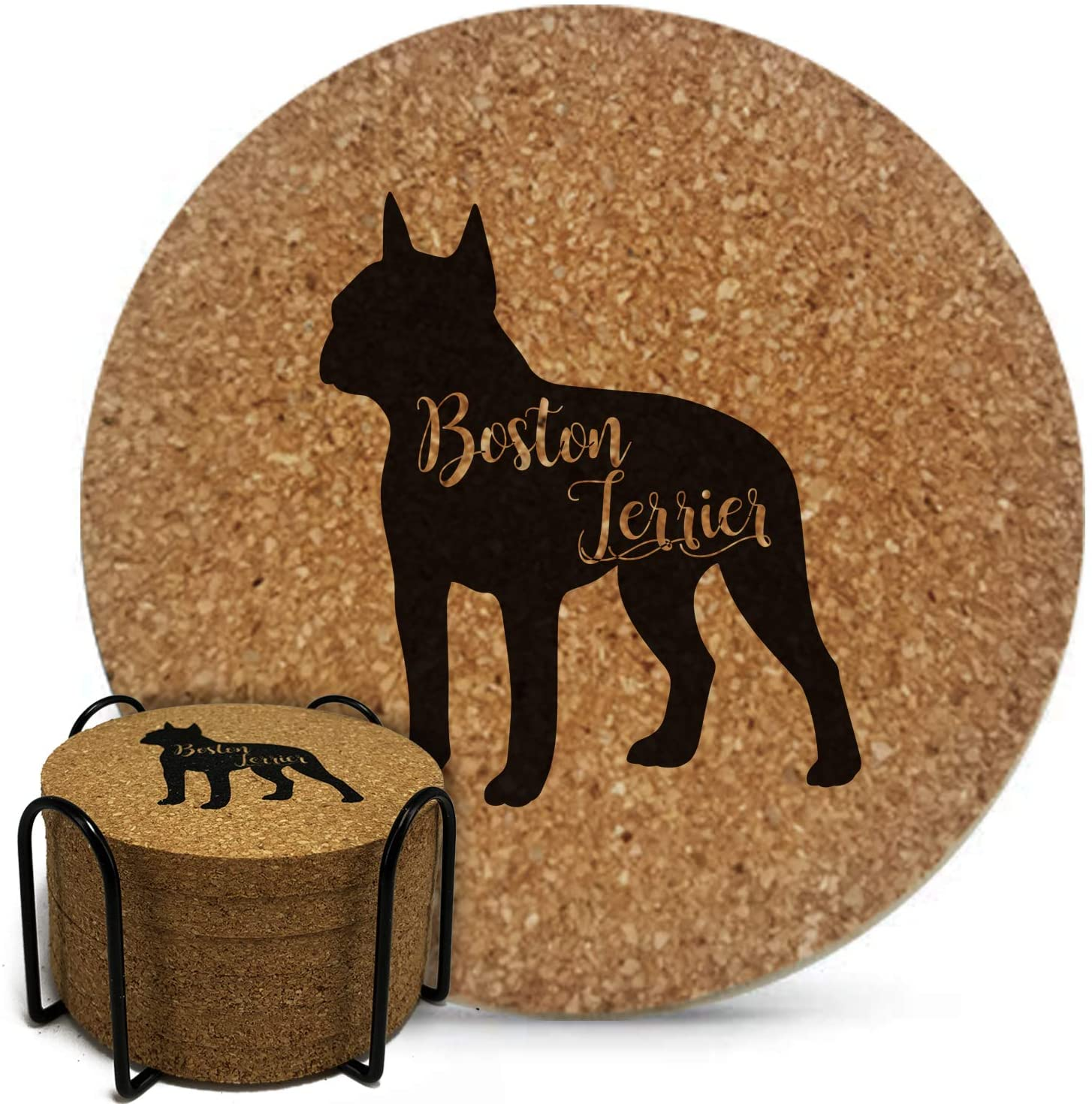 Onebttl 6PCS Dog Themed Coasters Boston Terrier Natural Cork Coasters Set with Metal Holder for Drinks Absorbent, Heat & Water Resistant, Perfect Presents for Dog Mom, Dog Lovers(3.9 3.9 0.35 Inch)