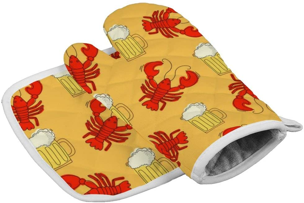 Furniture Decorate Beer and Crawfish Oven Mitts and Potholders BBQ Gloves - Recycled Cotton Infill Non-Slip Cooking Gloves for Kitchen Cooking Baking Grilling
