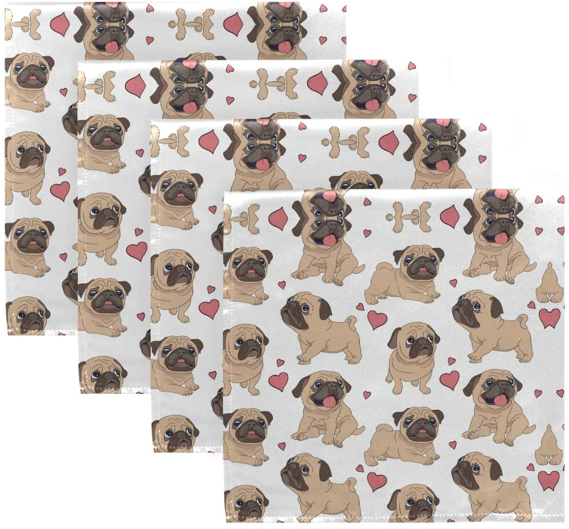 ALAZA Funny Cartoon Pugs Puppies Cloth Napkins Dinner Napkins Set of 4,Reusable Table Napkins Washable Polyester Fabric for Cocktail Party Holiday Wedding Home Decorative…