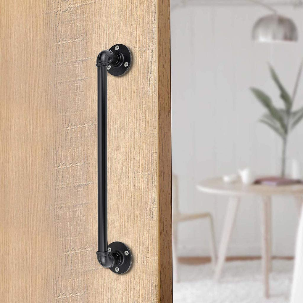 Sumnacon 16 Inch Industrial Pipe Barn Door Handle Pull - Rustic Handle Bar for Gate Cabinet Pantry/Shed Door with Screws, Vintage Style Bath Grab Bar/Hand Towel Holder for Bathroom, Kitchen, Black