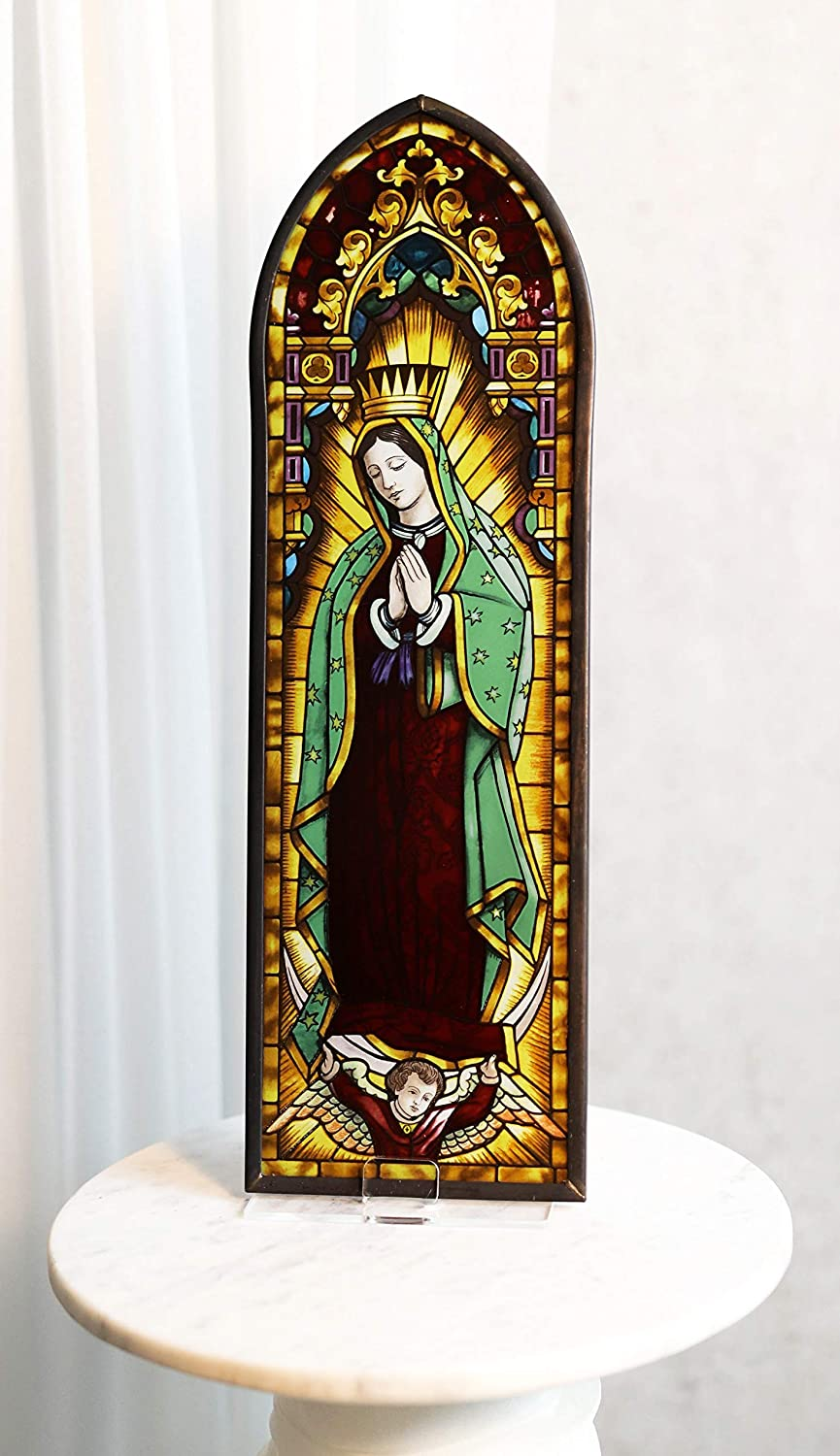 Ebros Gift Frank Lloyd Wright Devotion Masterpiece Our Lady of Guadalupe Virgin Mary Stained Glass Art Wall Decor or Flat Surface Desktop Plaque Display Catholic Home Decorative Inspirational Gift