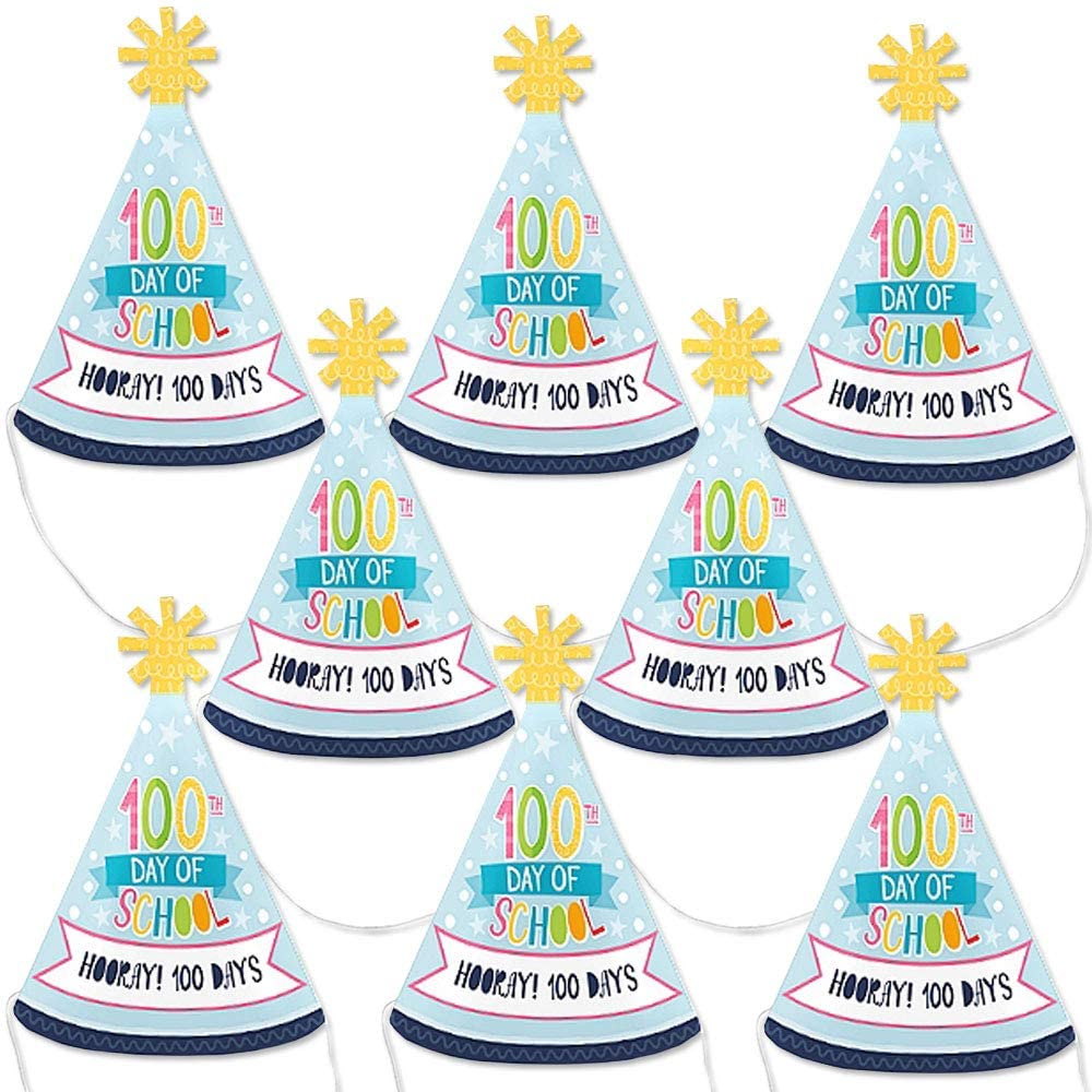 Big Dot of Happiness Happy 100th Day of School - Mini Cone 100 Days Party Hats - Small Little Party Hats - Set of 8