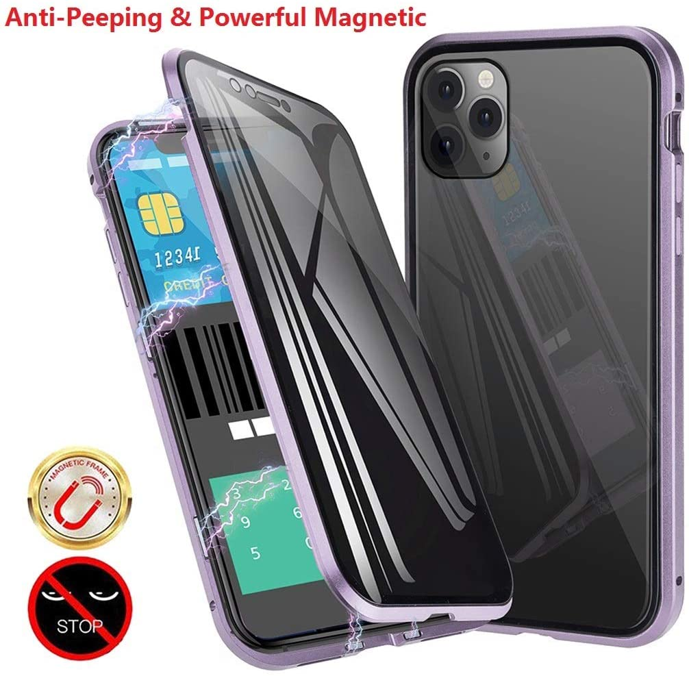 Anti-Spy Anti-Peeping Privacy Magnetic Case for iPhone 11 Pro Max Clear Double Sided Tempered Glass [Magnet Absorption Metal Bumper Frame] Thin Anti-Spy 360 Full Protective Phone (Purple, 11 Pro Max)