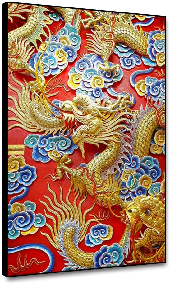 Leowefowas Unframed Wall Art Chinese Style Dragon Statue and Clouds On Red Wall Canvas Painting Home Decor 12x18 Wall Poster Canvas Print Wall Artwork Living Room Bedroom Canvas Picture