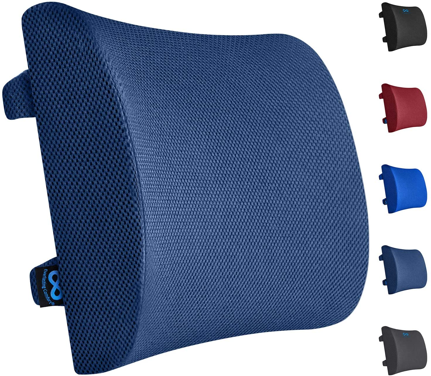 Everlasting Comfort Lumbar Support Pillow for Office Chair - Pure Memory Foam Lumbar Cushion for Car (Navy Blue)