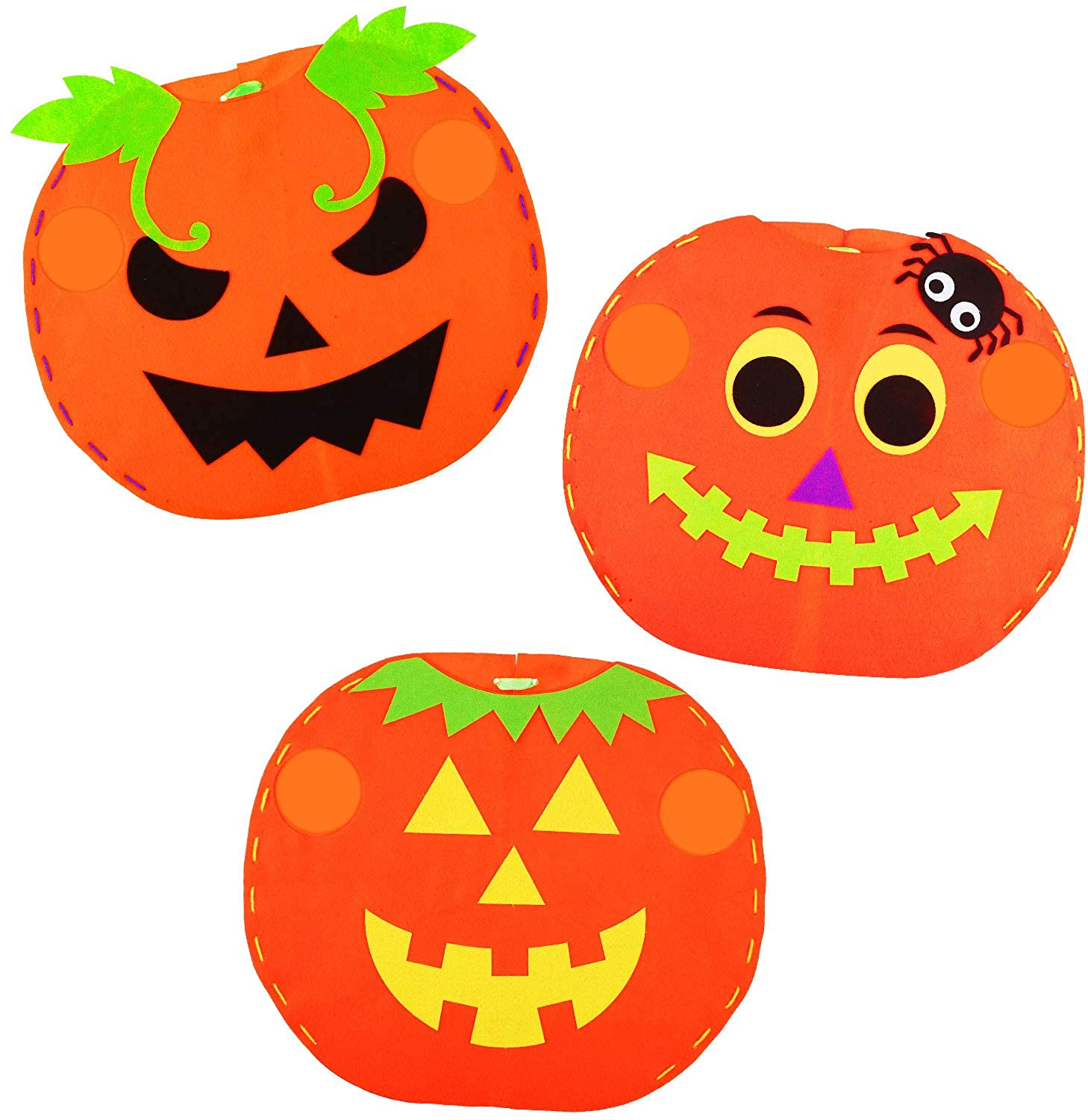 3 Sets Halloween DIY Pumpkin Costume Non-Woven Pumpkin Cosplay Clothes for Kids Children Cosplay Party