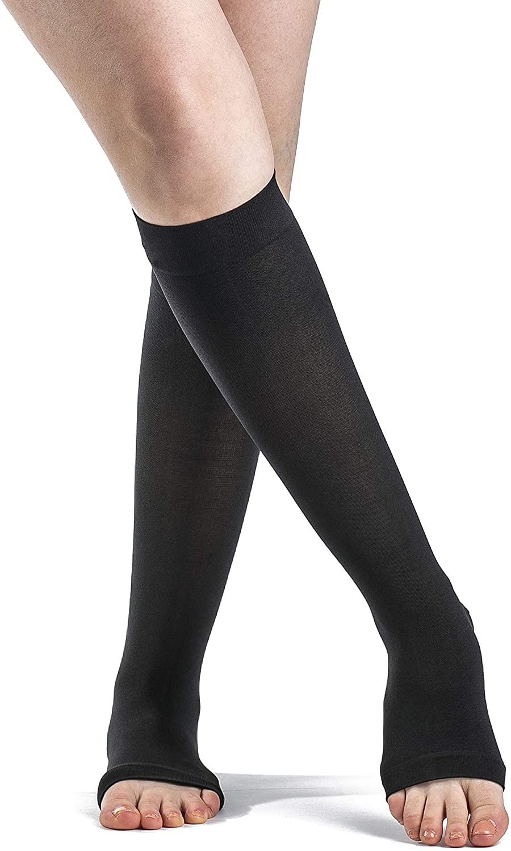 SIGVARIS Women's Style Soft Opaque 840 Open Toe Calf-High Socks 20-30mmHg