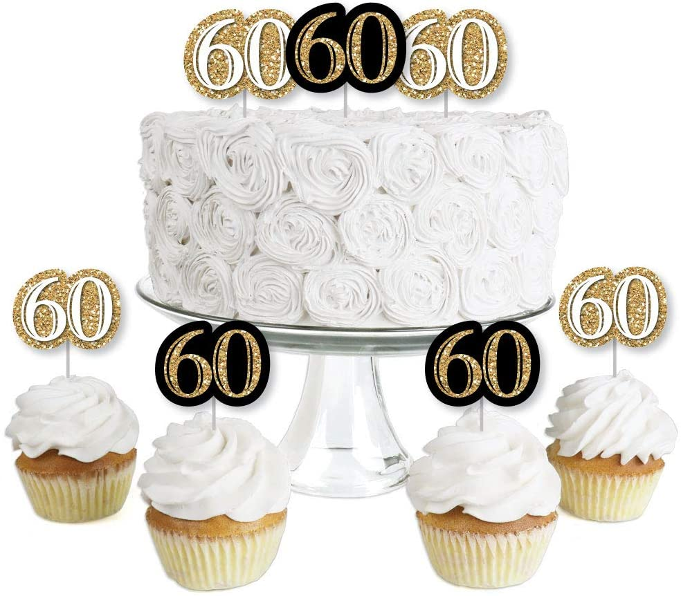 Adult 60th Birthday - Gold - Dessert Cupcake Toppers - Birthday Party Clear Treat Picks - Set of 24