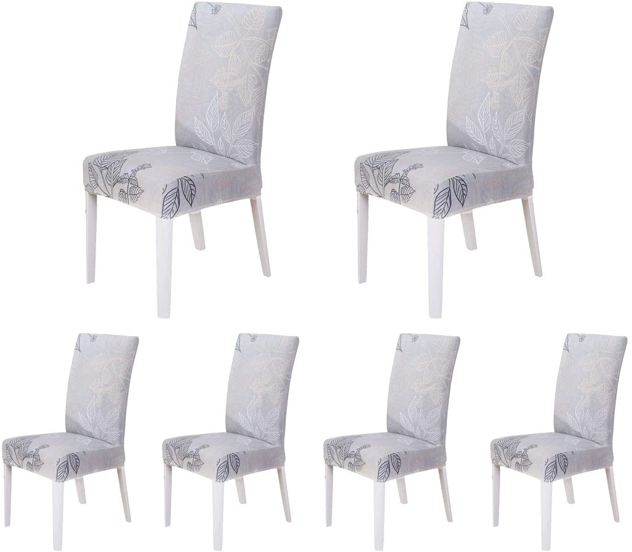 SoulFeel Set of 6 Stretch Chair Covers for Dining Room, Removable Fitted Seat Slipcovers Protector (Style 61, Scene of The Autumn)