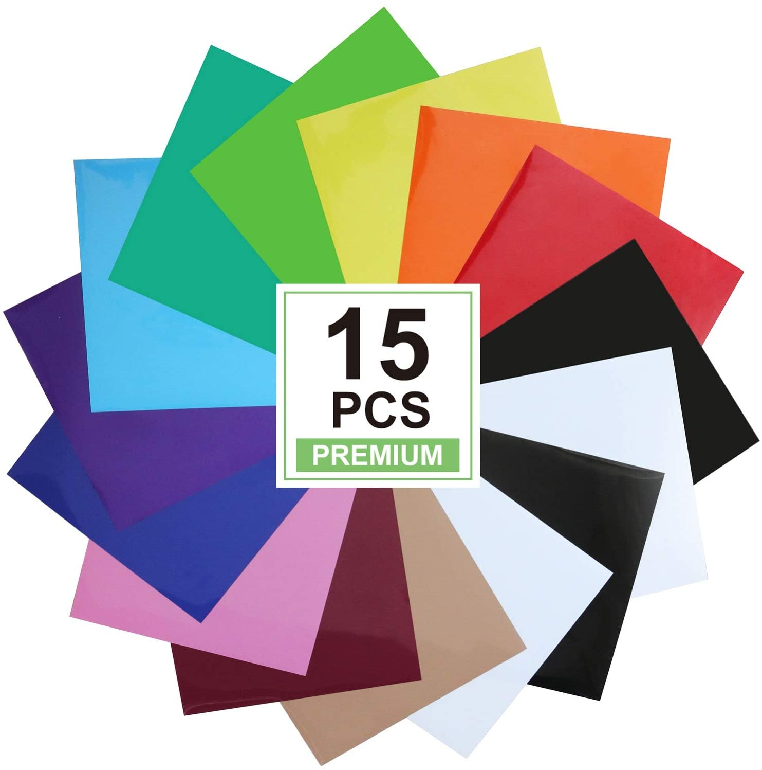 CAREGY Heat Transfer Vinyl for T-Shirts 12in.x10in. 15 Sheets-Iron On Vinyl HTV Bundle