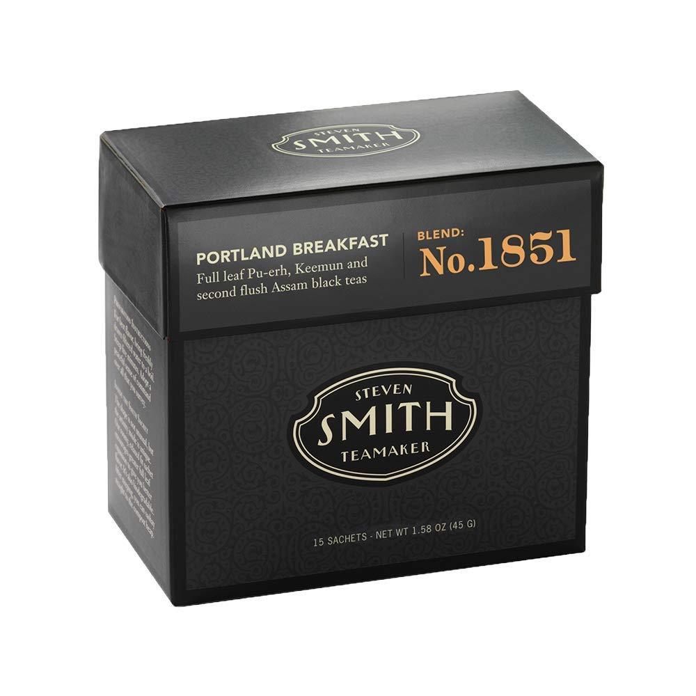 Smith Teamaker Portland Breakfast Tea Blend No. 1851 (Full Leaf Black Tea), 1.58 oz Bags, 15 Count