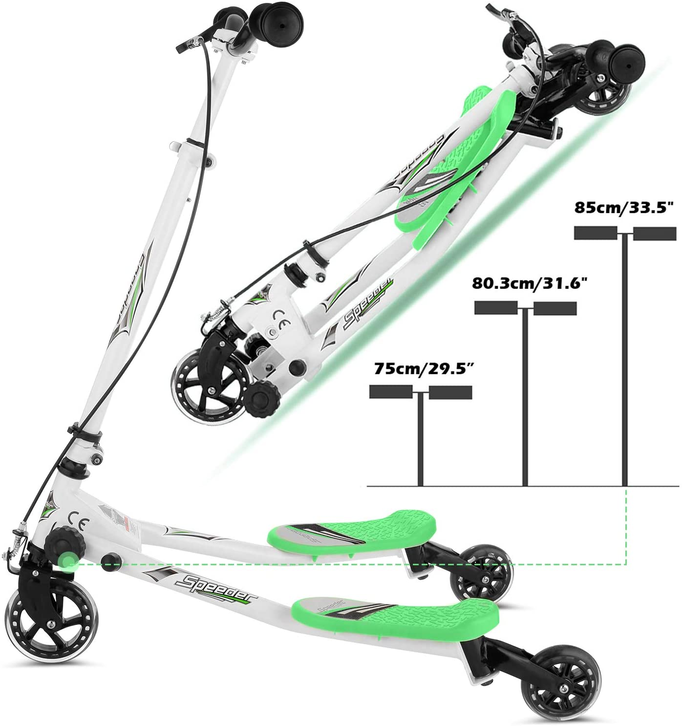 Rampmu Y Flicker Scooter, Wiggle Scooter for Kids, 3 Wheels Push Swing Scooter Foldable Speeder Tri Slider Kickboard for Ages 5-8