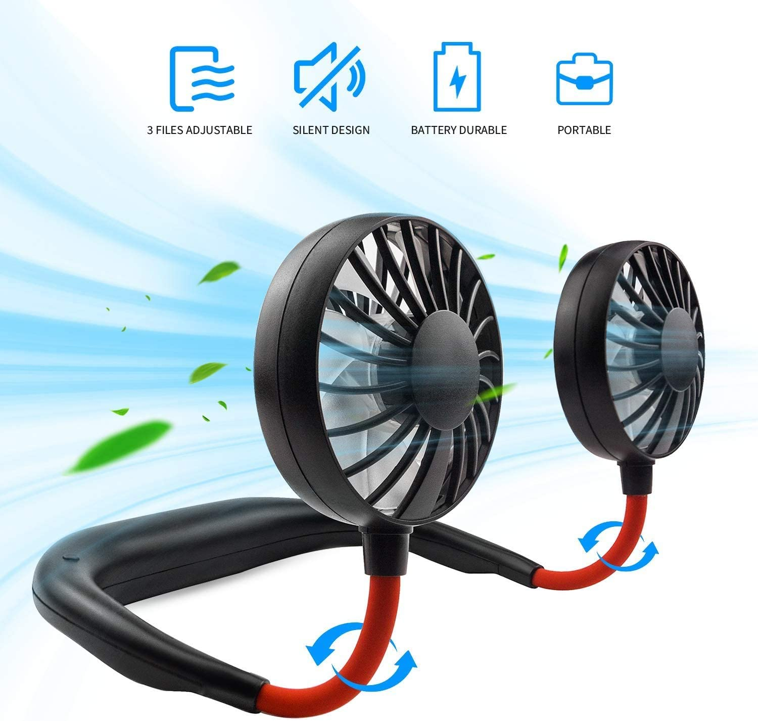 Hands Free Neck Fan, Rechargeable Mini USB Personal Fan, Headphone Design Wearable Neckband fan with 360° Rotation, 3 Adjustable Speeds, Colorful LED Lighting, Cooling Indoor and Outdoor Comfort, for for Hot Flashes Home Travel Office Home Sports Outdoor