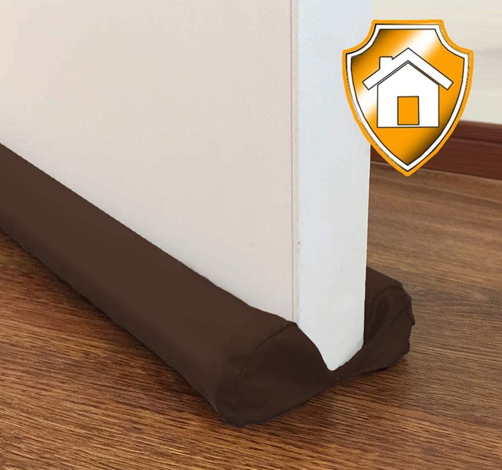 MAXTID Door Draft Stopper Brown Adjustable 32 to 38 inch Double Sided Draft Blocker for Cat Door Air Stopper Door Sweep