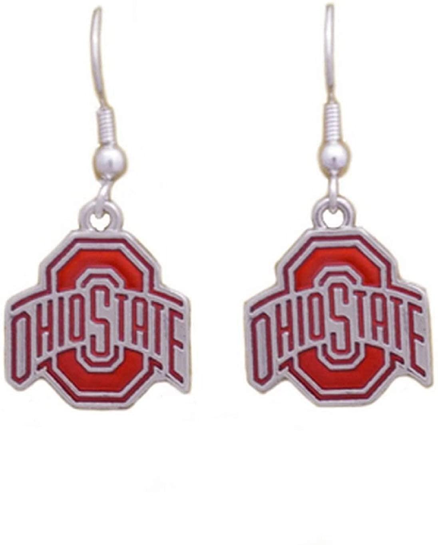 Ohio State Buckeyes Iridescent Logo Silver Tone Earrings