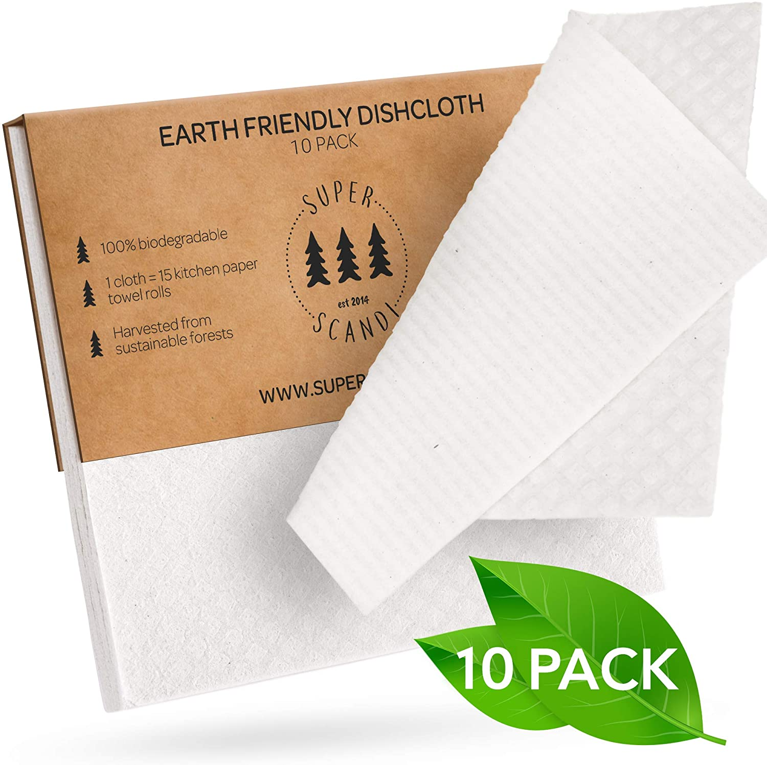 SUPERSCANDI 10 Pack Swedish Dishcloths Eco Friendly Reusable Sustainable Biodegradable Cellulose Sponge Cleaning Cloths for Kitchen Dish Rags Washing Paper Towel Replacement Washcloths (10 Pack White)