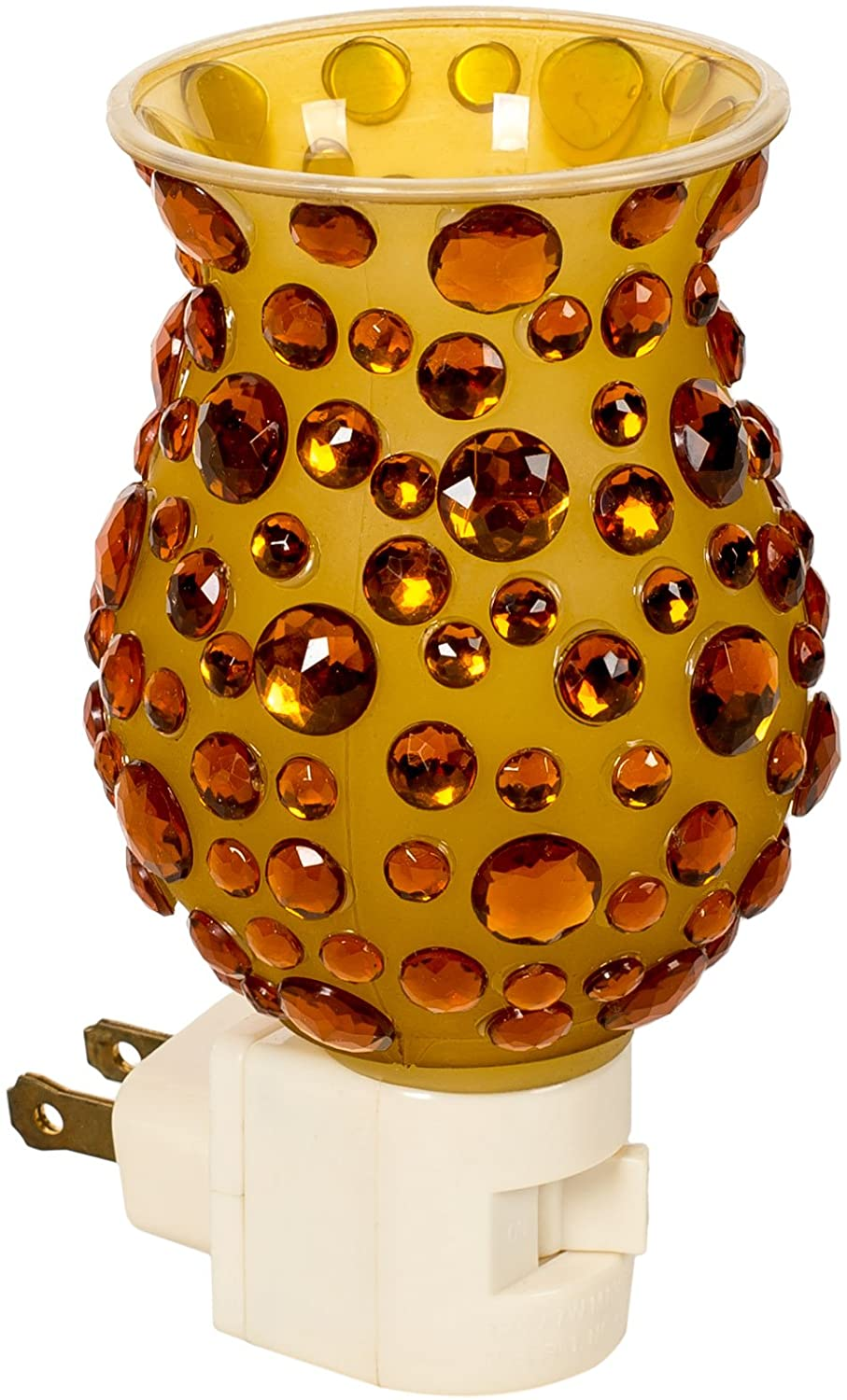 Gift Connection Amber Jeweled 5 x 3 Glass Electric Wall Plug-in Mosaic Night Light