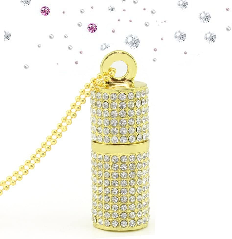 WooTeck USB Flash Drive,Bling Rhinestone Diamond Crystal Glitter Lipstick Case Shining Jewelry Necklace,16GB,Gold