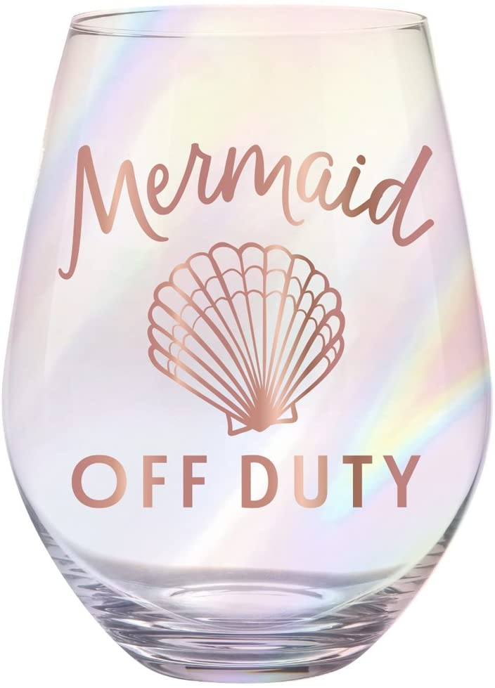 Creative Brands Slant Collections - Jumbo Stemless Wine Glass, 30-Ounce, Mermaid Off Duty