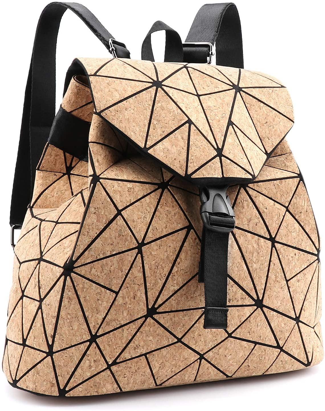 Tikea Geometric Backpack - Fashion Cork Schoolbag Causal Daypack Leather Rucksack Student Bookbag for Girl Women