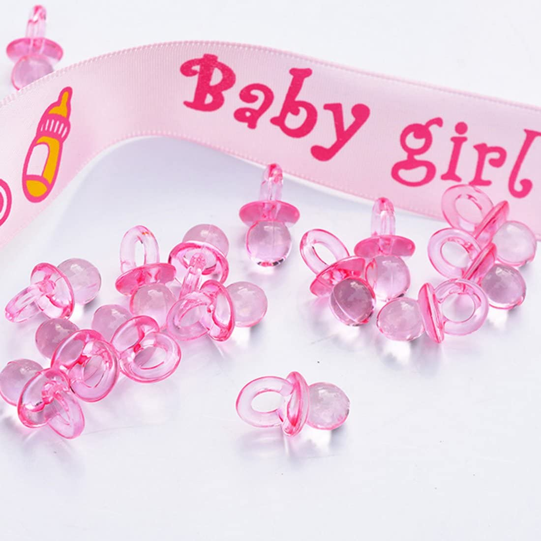 NiuZaiz 144 Pcs Mini Acrylic Pink Baby Pacifier Table Scatter Confetti for Baby Shower Birthday Party DIY Decorations (Pink)