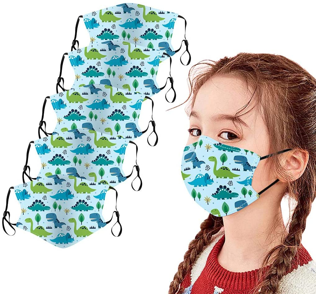 Gogoty 5PCS Kids Cute Print Face Scarf Bandanas Reusable Breathable Seamless Cotton Children Protection Outdoor Back to School