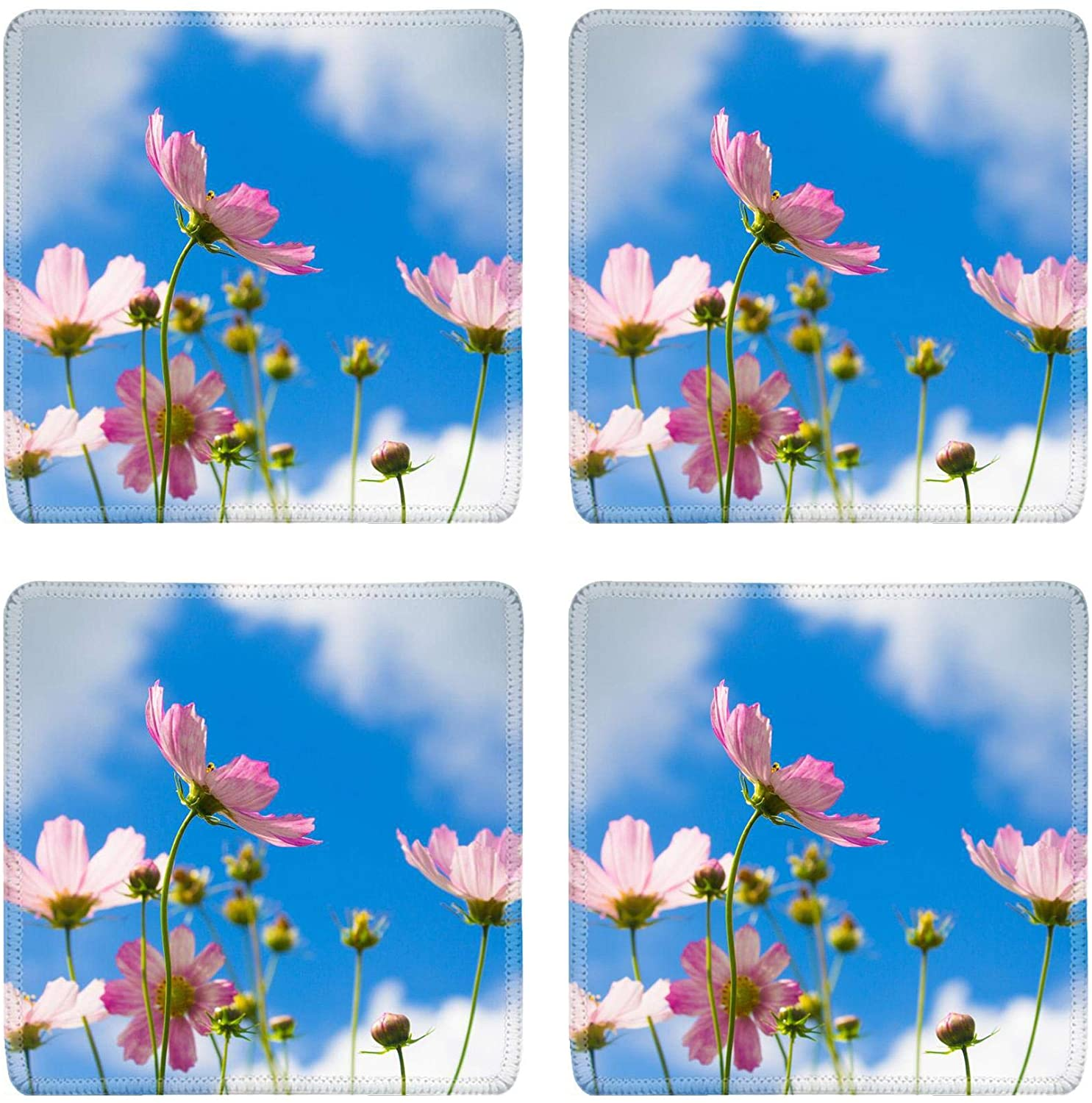MSD Drink Coasters 4 Piece Set Image ID: 19290734 pink flowers on blue clouds background