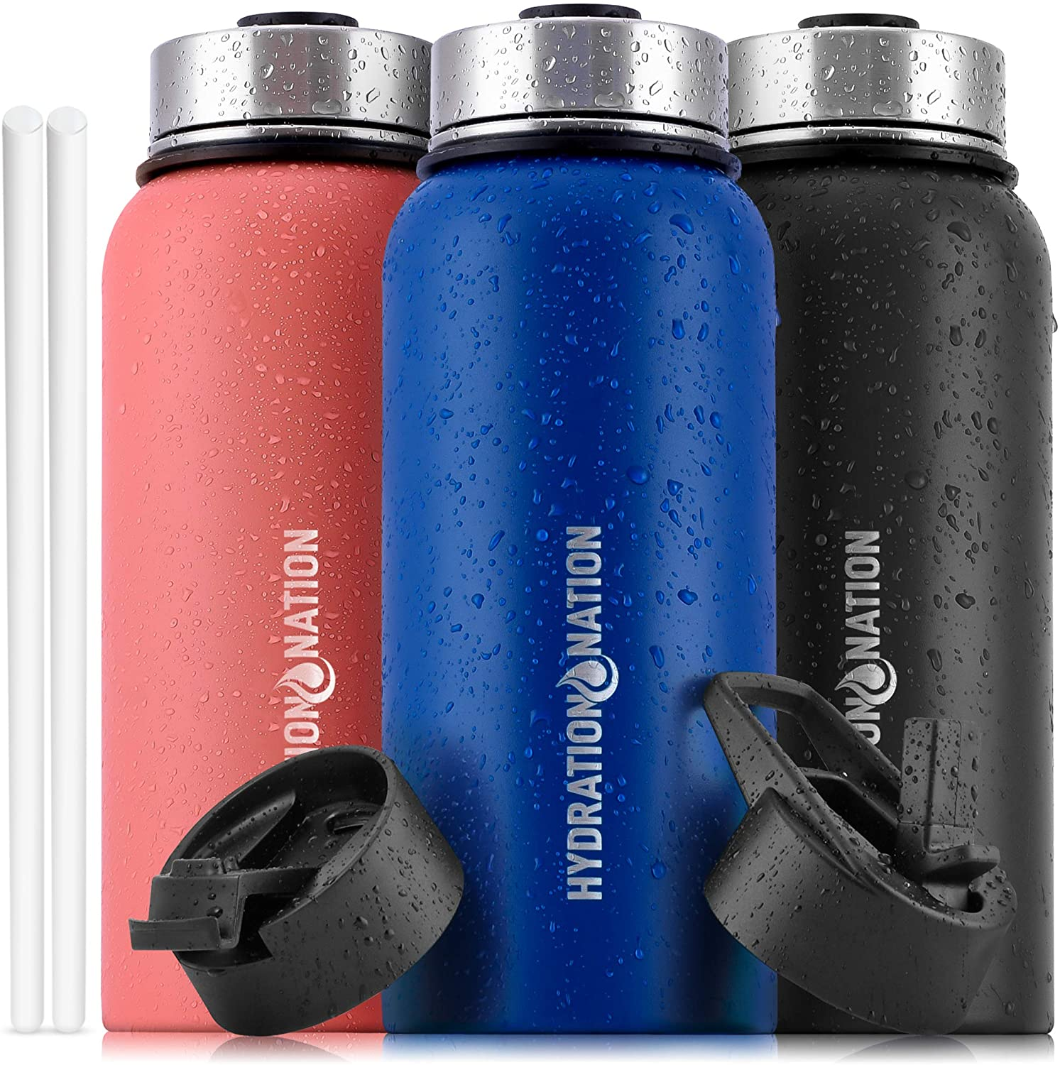 Hydration Nation (32oz) Vacuum Insulated Water Bottle - Durable Metal Water Bottle For Sports & Outdoor - Thermo Stainless Steel Water Bottle With Straw & 3 Lids For Hot & Cold Drinks (Twilight Blue)