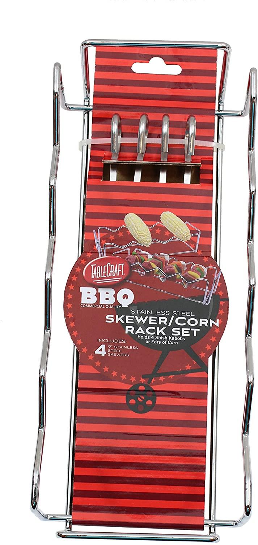 Tablecraft Skewer & Corn Rack Set, Stainless Steel Rack & 4 Skewers, 12