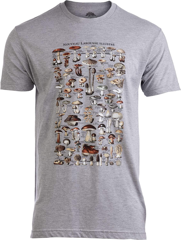 Vintage Mushrooms Illustration   Morel Hunter Shroom Nature Art Men Women T-Shirt
