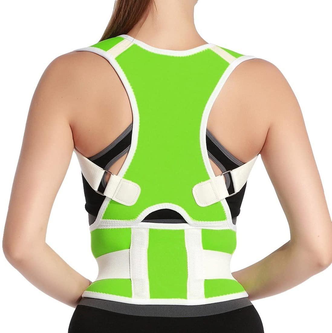Unisex Adjustable Back Posture Corrector Shoulder Health Orthopedic Support Belt Thoracic Back Brace Posture Support Corrector for Neck Shoulder Upper Back Pain Relief Size XL Green