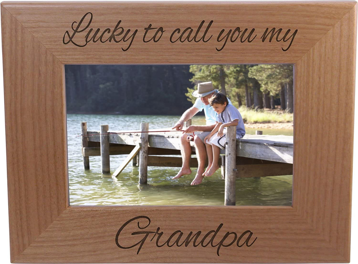 Lucky To Call You My Grandpa - 4x6 Inch Wood Picture Frame - Great Gift for Father's Day, Birthday, or Christmas Gift for Dad, Grandpa, Grandfather, Papa, Husband